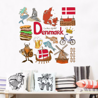 Denmark illustration wall sticker