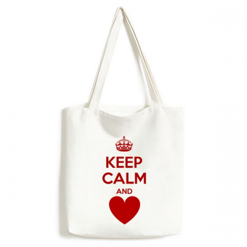 Quote Keep Calm And Love Red Crown Heart Funny Illustration Pattern Fashionable Design High Quality Canvas Bag Environmentally Tote Large Capacity Shopping Bags