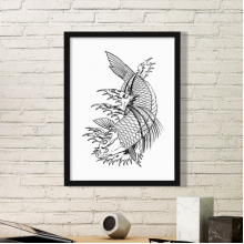 Swimming Tradition Chinese Fish Simple Picture Frame Art Prints Paintings Home Wall Decal Gift
