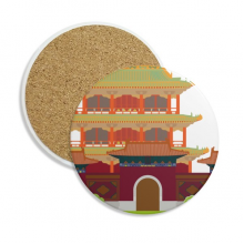 China Architecture Landmark Traditional Pattern Stone Drink Ceramics Coasters for Mug Cup Gift 2pcs