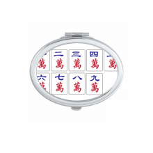 Traditional Chinese Culture Mahjong Game Oval Compact Makeup Mirror Portable Cute Hand Pocket Mirrors Gift