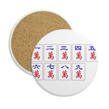 Traditional Chinese Culture Mahjong Game Ceramic Coaster Cup Mug Holder Absorbent Stone for Drinks 2pcs Gift