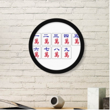 Traditional Chinese Culture Mahjong Game Art Painting Picture Photo Wooden Round Frame Home Wall Decor Gift