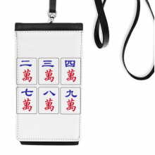 Traditional Chinese Culture Mahjong Game Faux Leather Smartphone Hanging Purse Black Phone Wallet Gift