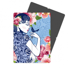 Chinese Culture Bird Flower Woman Refrigerator Magnet Puzzle Home Decal Magnetic Sticker set of 4 Gift