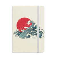 Japan Red Sun Sea Watercolor Classic Notebooks Fabric Hard Cover Office Work Gift