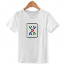 Mahjong Circle Dots 5 Tile Pattern Crew Neck White Children T-shirt Short Sleeve Sports Tshirts