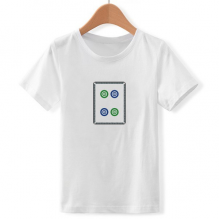 Mahjong Circle Dots 4 Tile Pattern Crew Neck White Children T-shirt Short Sleeve Sports Tshirts