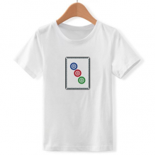 Mahjong Circle Dots 3 Tile Pattern Crew Neck White Children T-shirt Short Sleeve Sports Tshirts